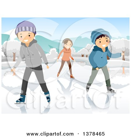 Clipart of Happy Teenagers Ice Skating on a Frozen Pond or Lake - Royalty Free Vector Illustration by BNP Design Studio