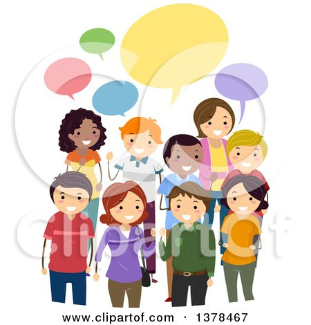 Clipart of a Group of Adults Discussing Their Opinions Under Colorful Speech Bubbles - Royalty Free Vector Illustration by BNP Design Studio