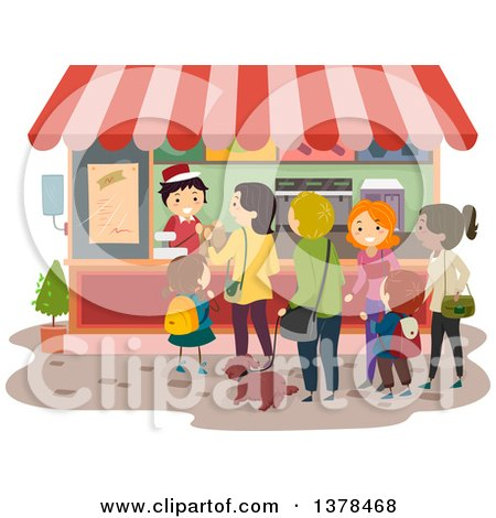 Clipart of a Line of People at a Food Vendor - Royalty Free Vector Illustration by BNP Design Studio