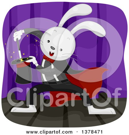 Clipart of a Rabbit Magician Performing a Trick - Royalty Free Vector Illustration by BNP Design Studio