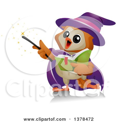 Clipart of a Wizard Owl Performing Magic - Royalty Free Vector Illustration by BNP Design Studio