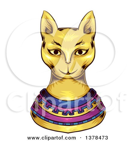 Clipart of a Gold Ancient Cat God - Royalty Free Vector Illustration by BNP Design Studio