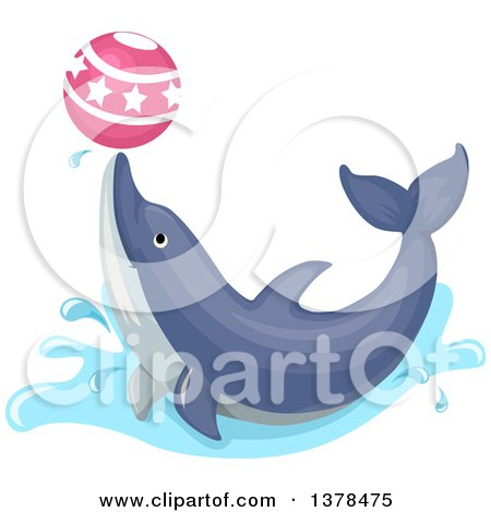 Clipart of a Happy Dolphin Playing with a Ball - Royalty Free Vector Illustration by BNP Design Studio