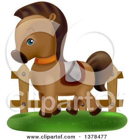 Clipart of a Cute Pony Wearing a Saddle and Prancing by a Fence - Royalty Free Vector Illustration by BNP Design Studio