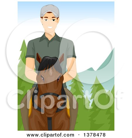 Clipart of a Brunette White Man Riding Horseback in the Mountains - Royalty Free Vector Illustration by BNP Design Studio