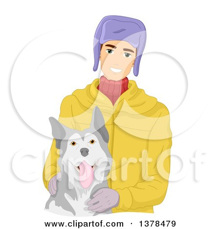 Clipart of a Happy White Man Petting a Siberian Husky Dog - Royalty Free Vector Illustration by BNP Design Studio