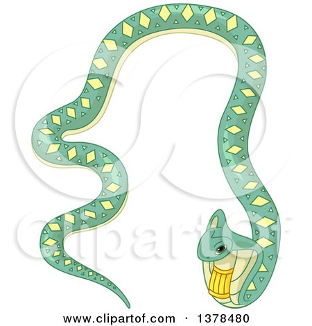 Clipart of a Green and Yellow Patterned Egyptian Cobra Snake - Royalty Free Vector Illustration by BNP Design Studio