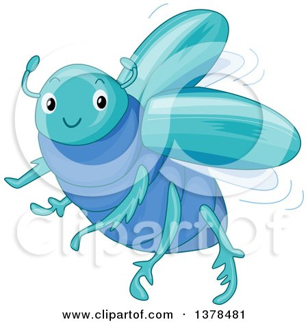 Clipart of a Cute Blue Scarab Beetle - Royalty Free Vector Illustration by BNP Design Studio