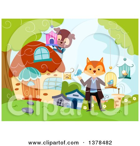 Clipart of a Fox and Dog Running a Pet Shop in the Woods - Royalty Free Vector Illustration by BNP Design Studio