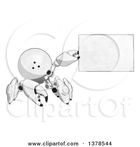 Clipart of a Cartoon Crab like Robot Holding a Blank Sign or Business Card - Royalty Free Illustration by Leo Blanchette