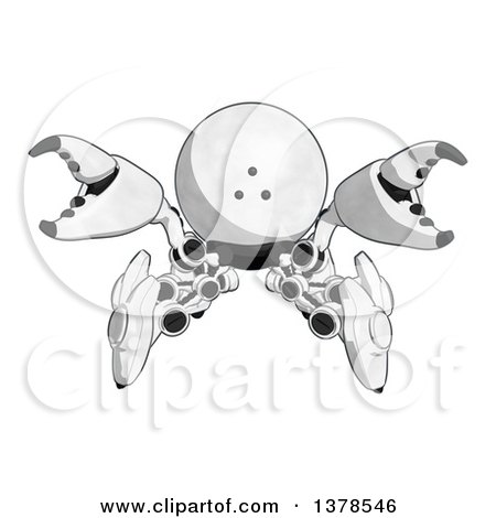 Clipart of a Cartoon Defensive Crab like Robot - Royalty Free Illustration by Leo Blanchette