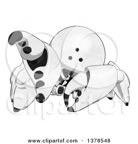 Clipart of a Cartoon Crab like Robot Grabbing - Royalty Free Illustration by Leo Blanchette