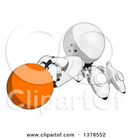 Clipart of a Cartoon Crab like Robot Holding a Ball - Royalty Free Illustration by Leo Blanchette