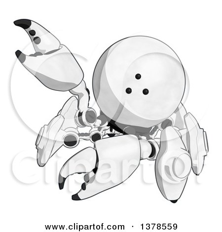 Clipart of a Cartoon Crab like Robot Waving - Royalty Free Illustration by Leo Blanchette
