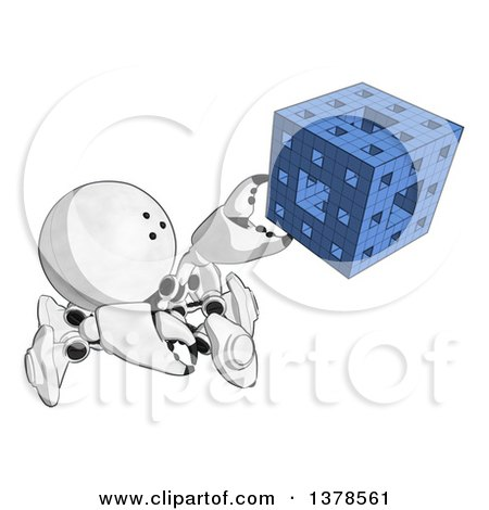 Clipart of a Cartoon Crab like Robot Assembling a Block - Royalty Free Illustration by Leo Blanchette