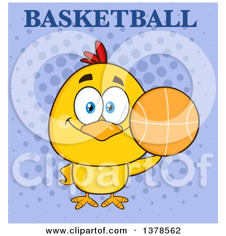 Clipart of a Yellow Chick Holding a Basketball Under Text on Purple - Royalty Free Vector Illustration by Hit Toon