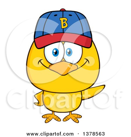 Clipart of a Yellow Chick Wearing a Baseball Cap - Royalty Free Vector Illustration by Hit Toon
