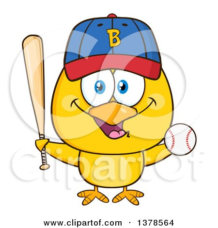 Clipart of a Yellow Chick with Baseball Gear - Royalty Free Vector Illustration by Hit Toon
