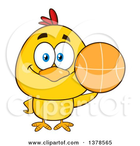 Clipart of a Yellow Chick Holding a Basketball - Royalty Free Vector Illustration by Hit Toon