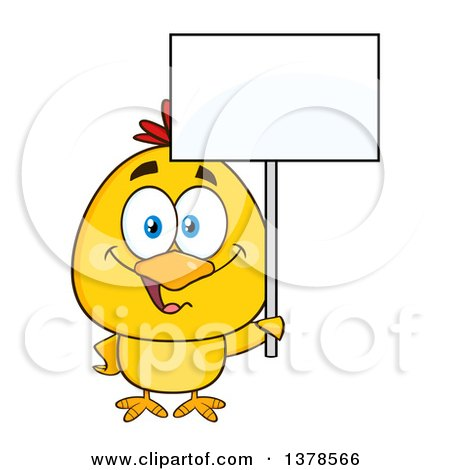 Clipart of a Yellow Chick Holding a Blank Sign - Royalty Free Vector Illustration by Hit Toon