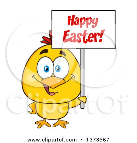 Clipart of a Yellow Chick Holding a Happy Easter Sign - Royalty Free Vector Illustration by Hit Toon