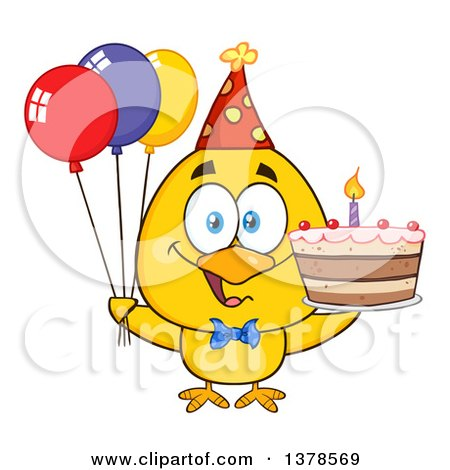 Clipart of a Yellow Birthday Chick with a Cake and Party Balloons - Royalty Free Vector Illustration by Hit Toon