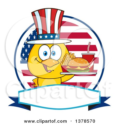 Clipart of a Yellow Chick Holding a Tray of Fast Food and Wearing an American Top Hat over a Flag Label - Royalty Free Vector Illustration by Hit Toon
