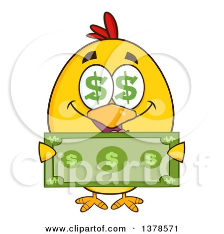 Clipart of a Yellow Rich Chick with Dollar Eyes, Holding Cash - Royalty Free Vector Illustration by Hit Toon