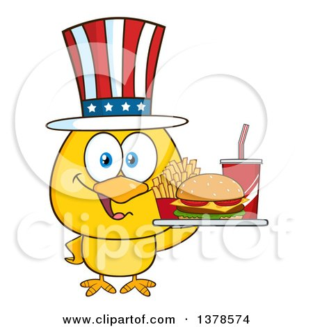 Clipart of a Yellow Chick Holding a Tray of Fast Food and Wearing an American Top Hat - Royalty Free Vector Illustration by Hit Toon