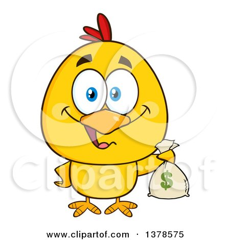 Clipart of a Yellow Rich Chick Holding a Money Bag - Royalty Free Vector Illustration by Hit Toon