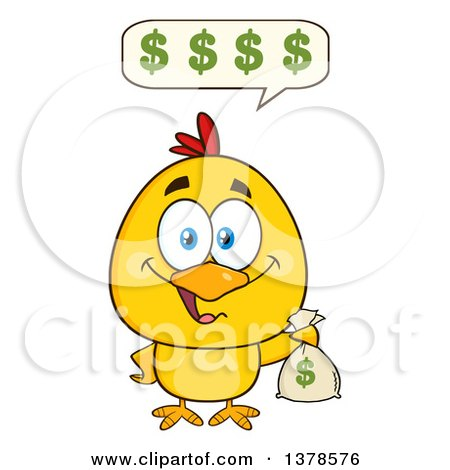 Clipart of a Yellow Rich Chick Talking and Holding a Money Bag - Royalty Free Vector Illustration by Hit Toon