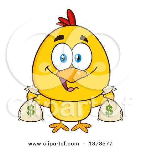 Clipart of a Yellow Rich Chick Holding Money Bags - Royalty Free Vector Illustration by Hit Toon