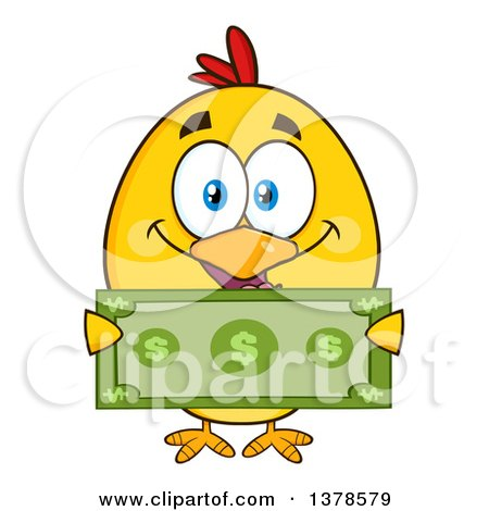Clipart of a Yellow Rich Chick Holding Cash - Royalty Free Vector Illustration by Hit Toon