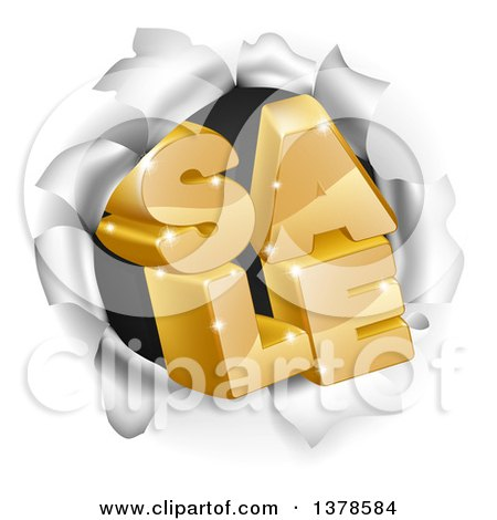 Clipart of 3d Gold Sale Text Breaking Through a Hole in a Wall - Royalty Free Vector Illustration by AtStockIllustration