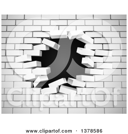 Clipart of a White Brick Wall Breaking Apart, with a Hole in the Center, over Black - Royalty Free Vector Illustration by AtStockIllustration