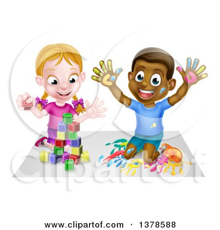 Clipart of a Happy White Girl Playing with Toy Blocks and a Black Boy Hand Painting - Royalty Free Vector Illustration by AtStockIllustration