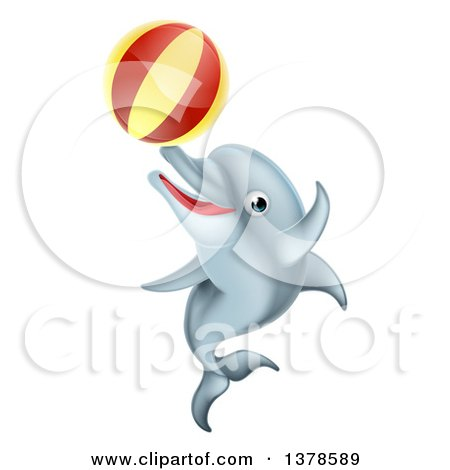 Clipart of a Cute Happy Dolphin Jumping and Playing with a Ball - Royalty Free Vector Illustration by AtStockIllustration