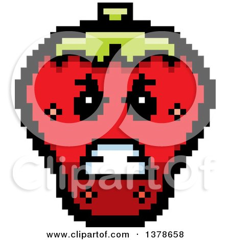 Clipart of a Mad Strawberry Character in 8 Bit Style - Royalty Free Vector Illustration by Cory Thoman