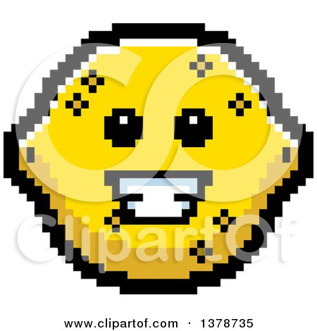 Clipart of a Happy Lemon Character in 8 Bit Style - Royalty Free Vector Illustration by Cory Thoman