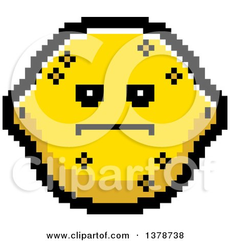 Clipart of a Serious Lemon Character in 8 Bit Style - Royalty Free Vector Illustration by Cory Thoman