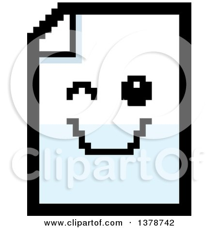 Clipart of a Winking Note Document Character in 8 Bit Style - Royalty Free Vector Illustration by Cory Thoman