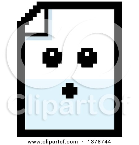 Clipart of a Surprised Note Document Character in 8 Bit Style - Royalty Free Vector Illustration by Cory Thoman