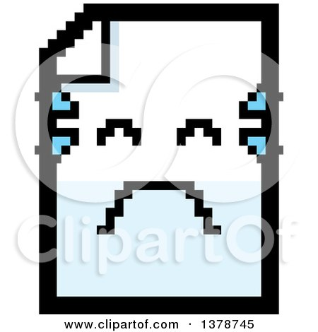 Clipart of a Crying Note Document Character in 8 Bit Style - Royalty Free Vector Illustration by Cory Thoman