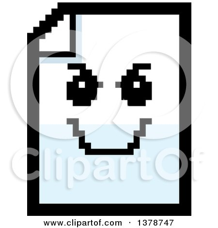 Clipart of a Grinning Evil Note Document Character in 8 Bit Style - Royalty Free Vector Illustration by Cory Thoman