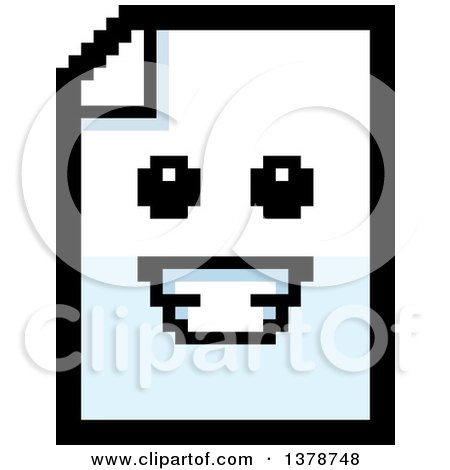 Clipart of a Happy Note Document Character in 8 Bit Style - Royalty Free Vector Illustration by Cory Thoman