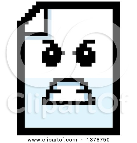 Clipart of a Mad Note Document Character in 8 Bit Style - Royalty Free Vector Illustration by Cory Thoman