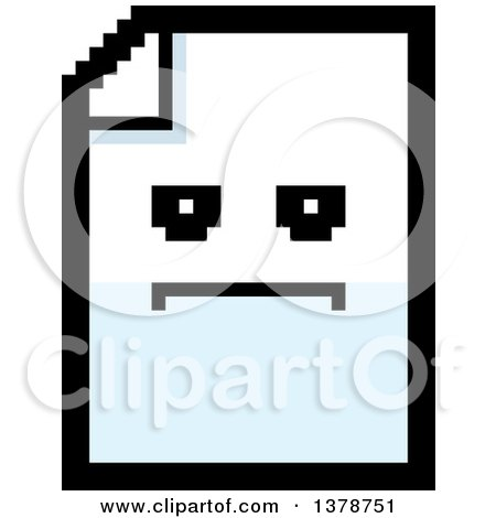 Clipart of a Serious Note Document Character in 8 Bit Style - Royalty Free Vector Illustration by Cory Thoman