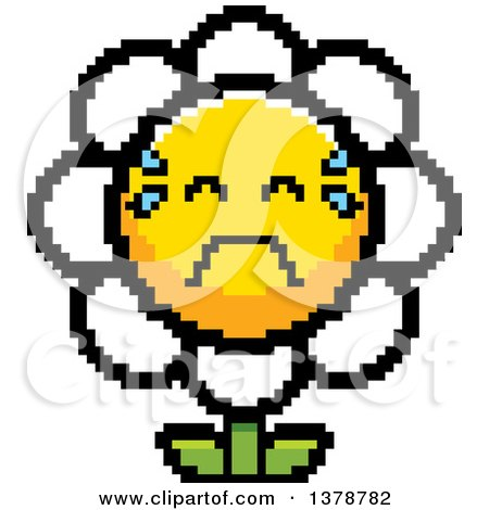 Clipart of a Crying Daisy Flower Character in 8 Bit Style - Royalty Free Vector Illustration by Cory Thoman