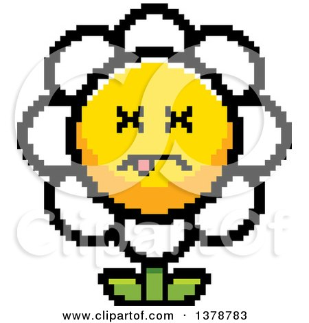 Clipart of a Dead Daisy Flower Character in 8 Bit Style - Royalty Free Vector Illustration by Cory Thoman