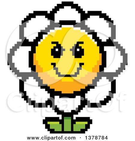 Clipart of a Grinning Evil Daisy Flower Character in 8 Bit Style - Royalty Free Vector Illustration by Cory Thoman